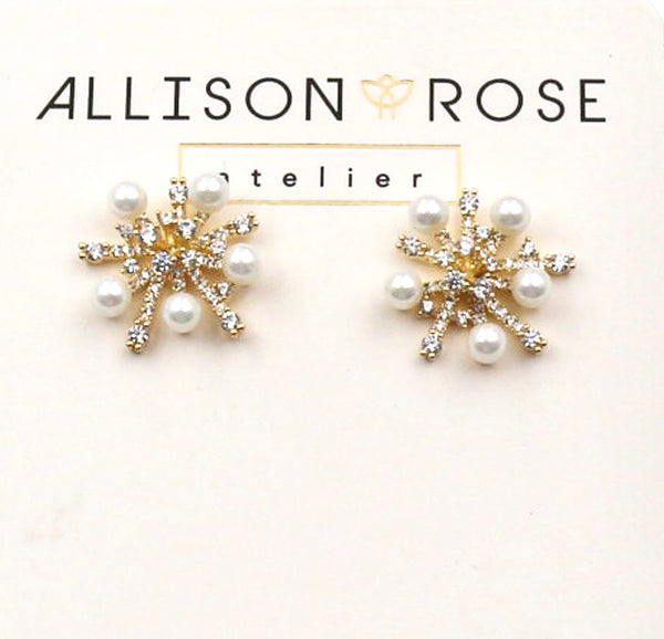 Allison Rose Atelier - Pearl and CZ Cluster Brass Vintage Medium Stud Earrings