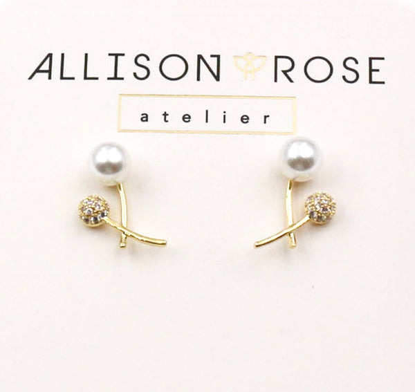 Allison Rose Atelier - Pearl & CZ Stone Vintage Crossed Stud Earrings in Gold Plating