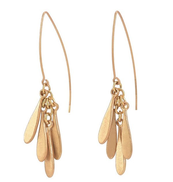 Dangle Earrings with Curved Flat Bar Dangling Bars – Worn Gold Plating