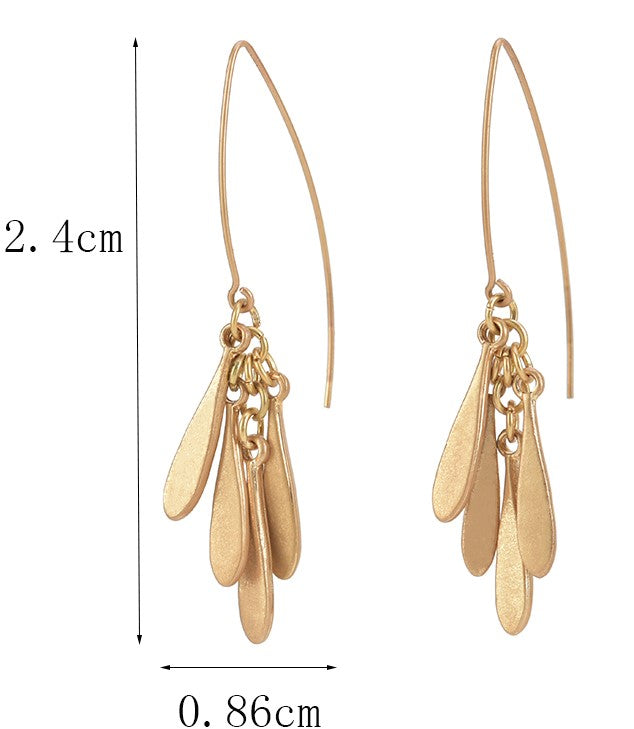 Allison Rose Atelier - Threader Dangle Earrings with Curved Flat Bar Dangling Bars – Worn Gold Plating