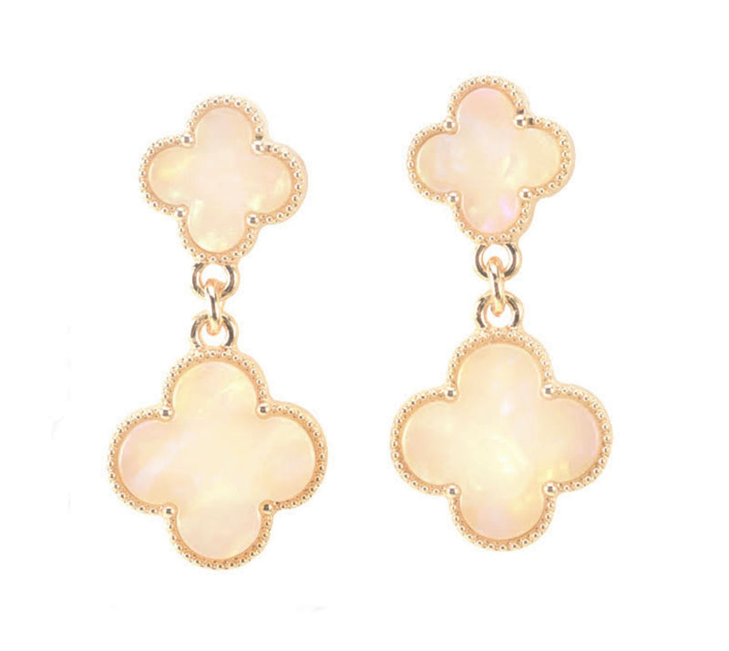 INTERNATIONAL SALE ONLY: Allison Rose Atelier - Off White Double Clover Quatrefoil Drop Earrings in Gold Plating