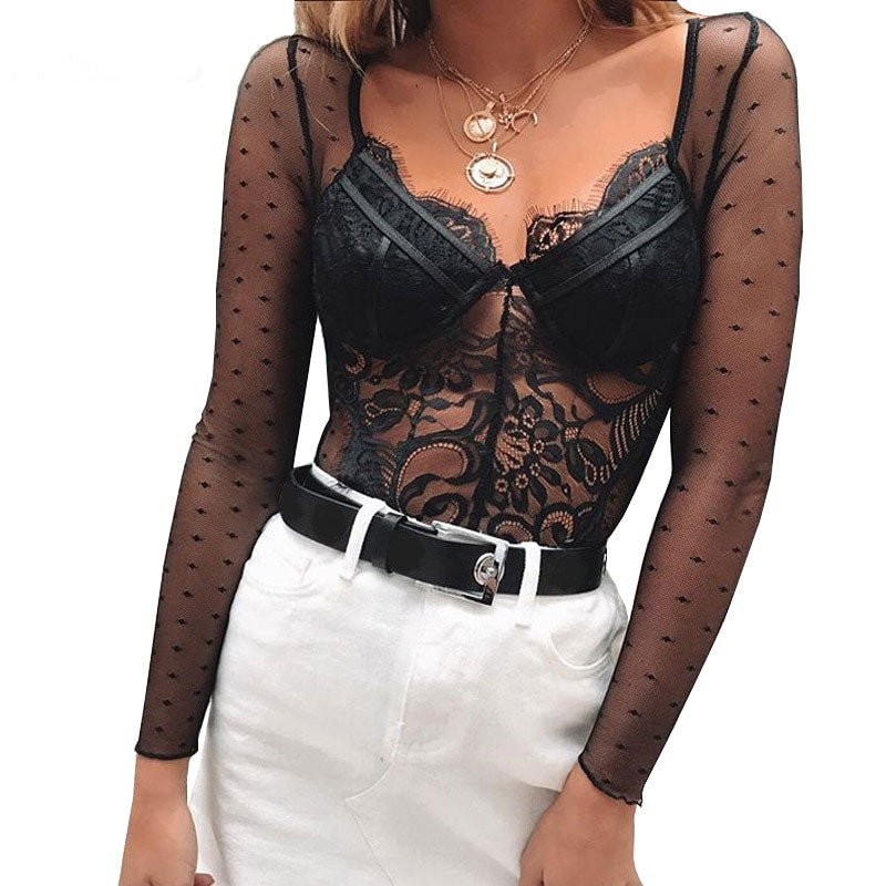 Sexy V Neck Lace Bodysuits