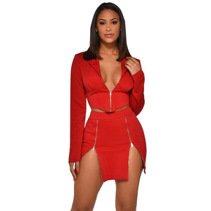 Sexy Two Piece Club Outfits Zipper Long Sleeve Crop Top Blazer and Skirt