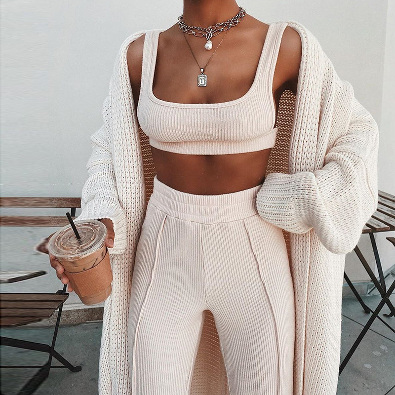Ribbed Two Piece Outfits Crop Top Long Pants