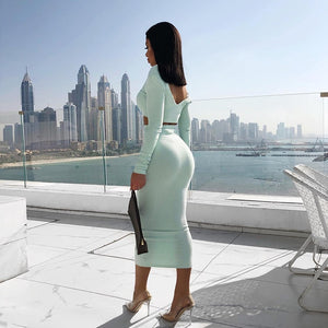 Two Piece Set V-neck Long Sleeve Crop Top Long Skirt Set