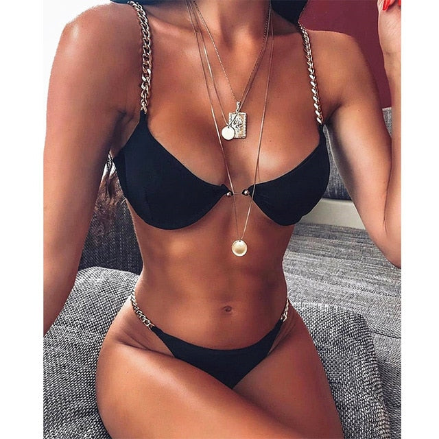 Solid Bikini Set Push Up Swimwear Low Waist Bathing suit