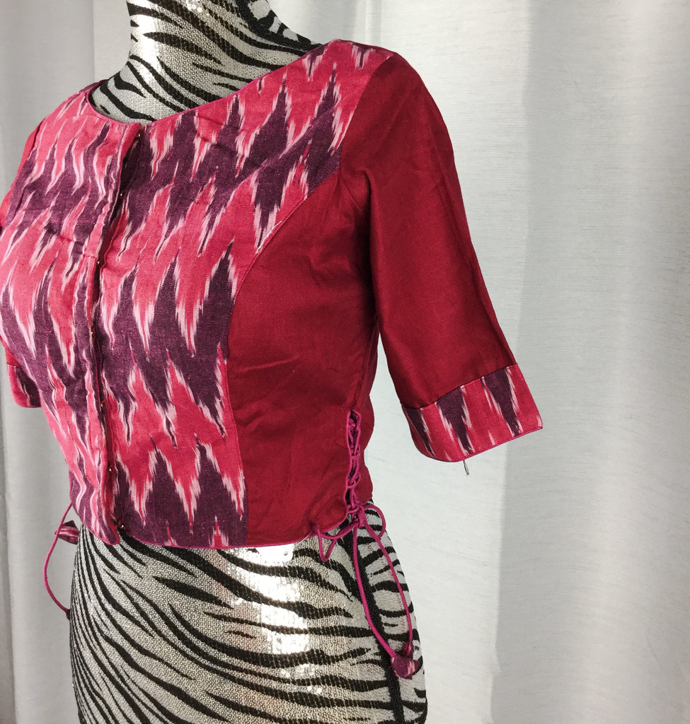 872776683f0b1f Magenta Ikat Designer Boat Neck Ready to Wear Blouse – Pitambara Brocade