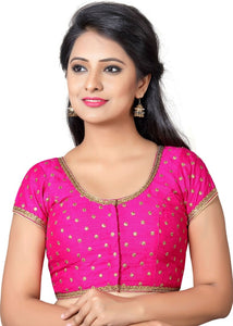 8ded82accfef83 Deep Pink Banaras Brocade Silk Ready wear Blouse – Pitambara Brocade