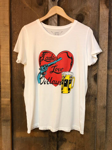 Heart and Pistol(Ladies Love Outlaws) Womens Tee Wht/Color