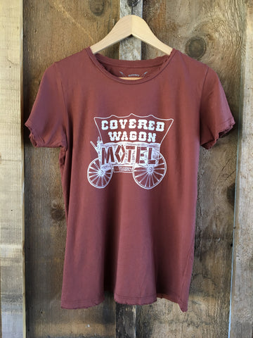 Covered Wagon Motel Women's Color Tee Rust/White