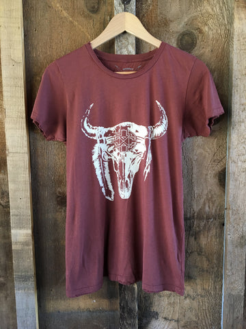 New Mexico Skull Women's Color Tee Rust/White