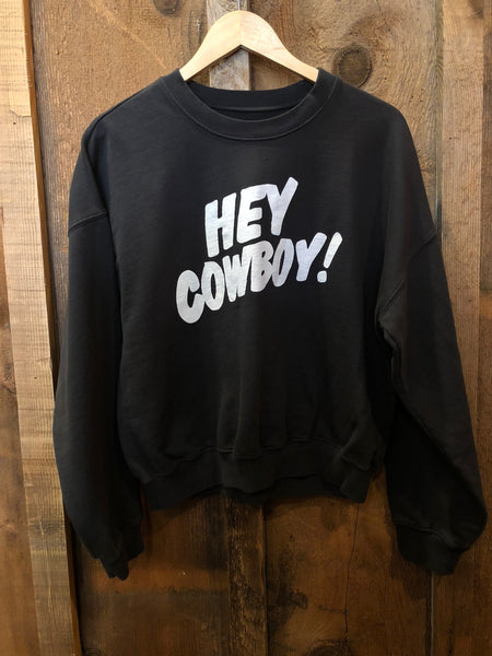 Hey Cowboy Sweatshirt Blk/White