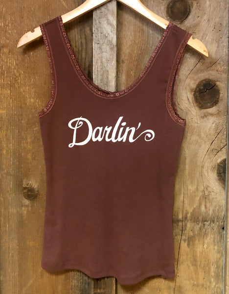Darlin Lace Tank Rust/Wht