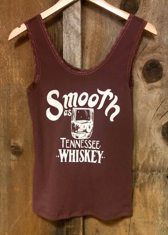 Smooth as Tennessee Whiskey Lace Tank Rust/Wht