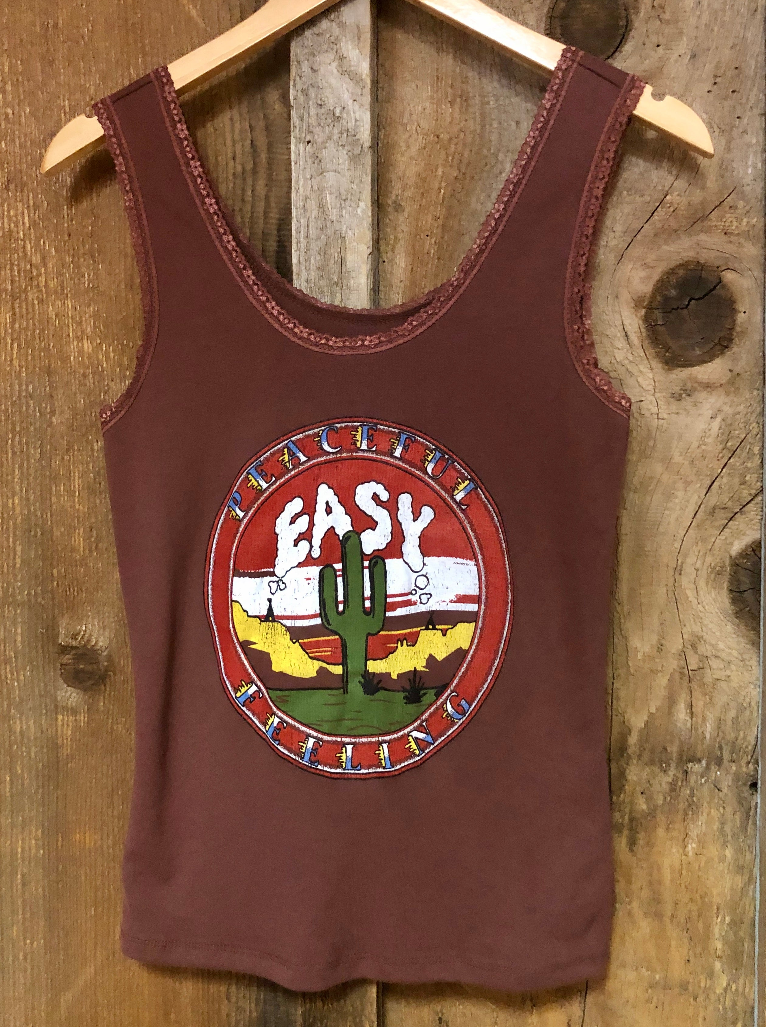 Peaceful Easy Feelin Lace Tank Rust/Color