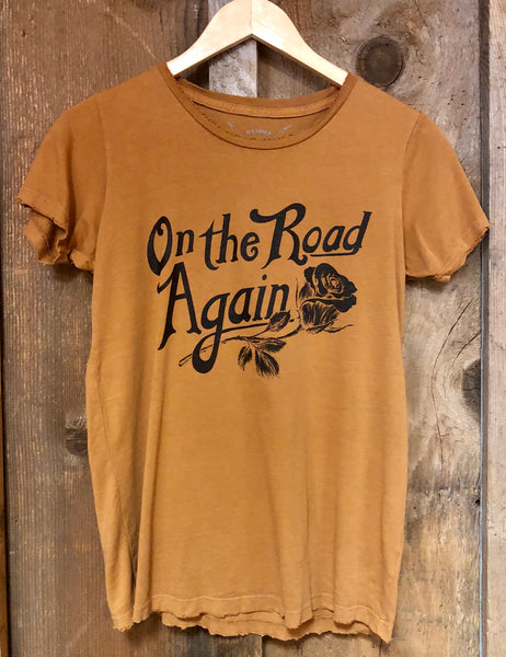 On the Road Again Womens Tee Cognac/Blk