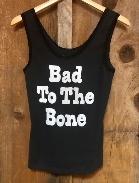 Bad to the Bone Lace Tank Blk/Wht