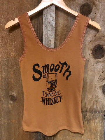 Smooth as Tennesee Whiskey Lace Tank Cognac/Blk