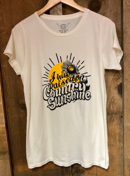 Raised on Country Sunshine Womens Tee Wht/Blk