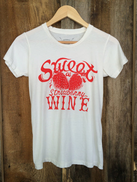 Sweet As Strawberry Wine Womens Tee White/Red