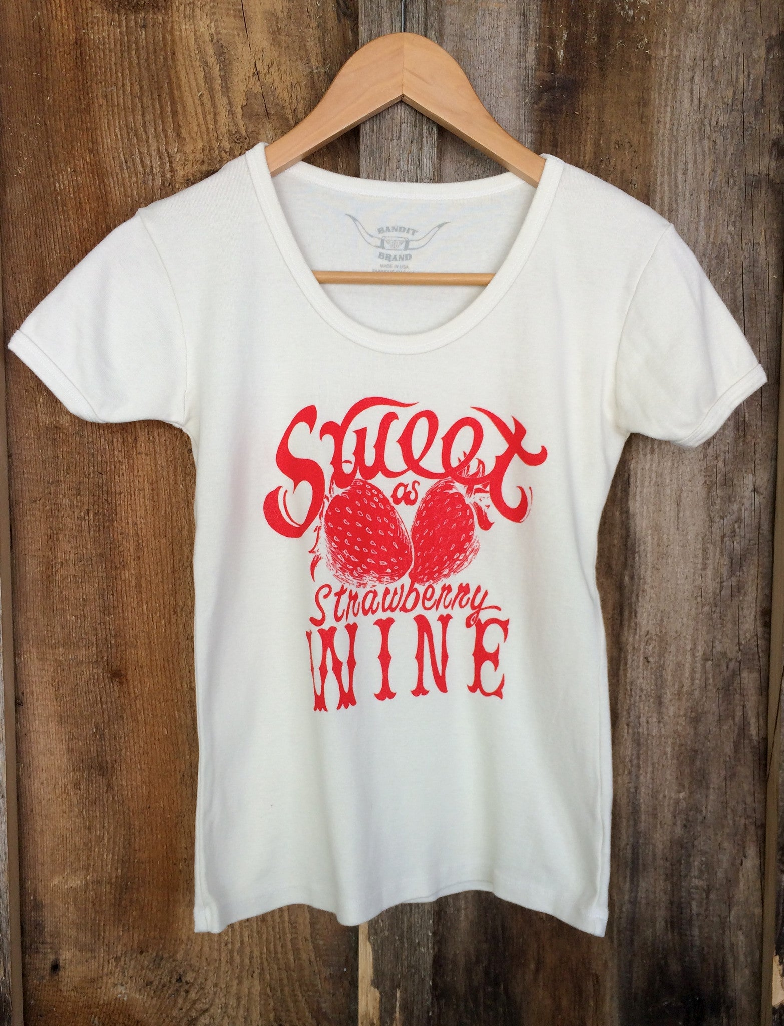Sweet As Strawberry Wine 70's Tee White/Red