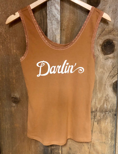 Darlin Lace Tank Cognac/Cream