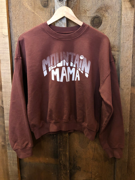 Mountain Mama Sweatshirt Rust/White