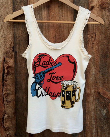 Heart and Pistol (Ladies Love Outlaws) Lace Tank White/Multi