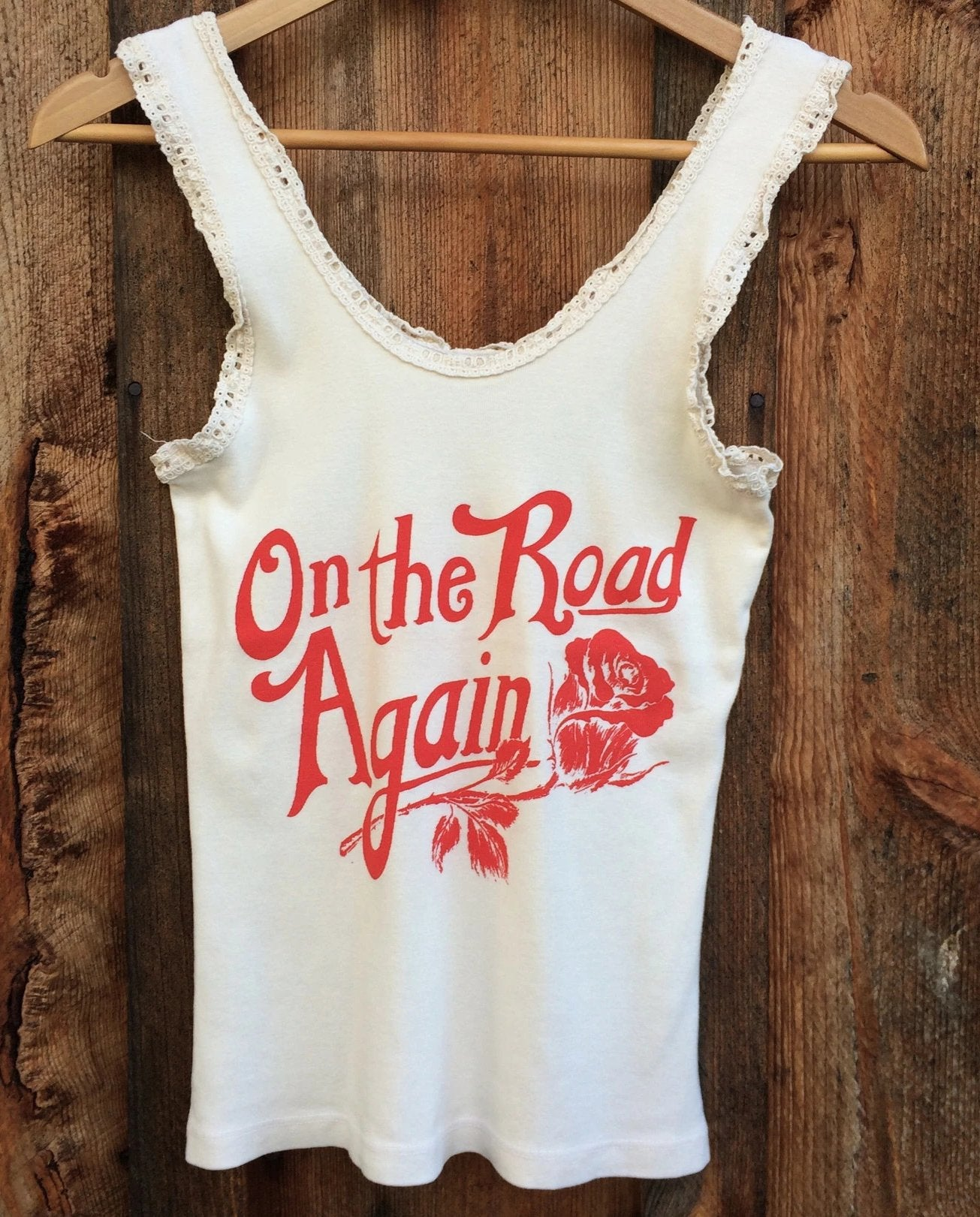 On The Road Again Vintage Lace Tank, White/Red