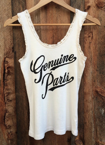 Genuine Parts Lace Tank White/Black