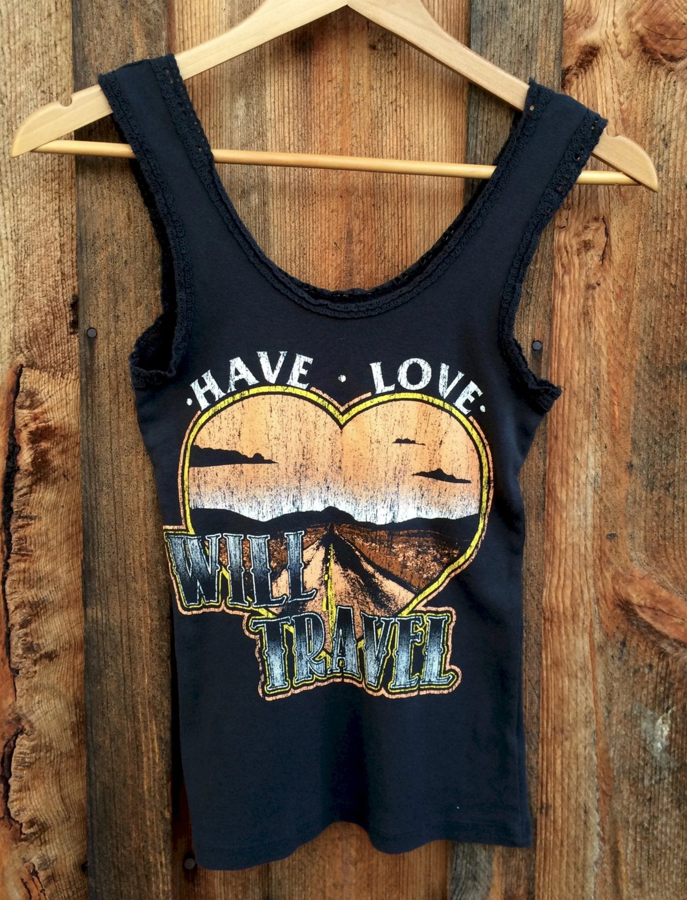 Have Love Will Travel Lace Tank, Black