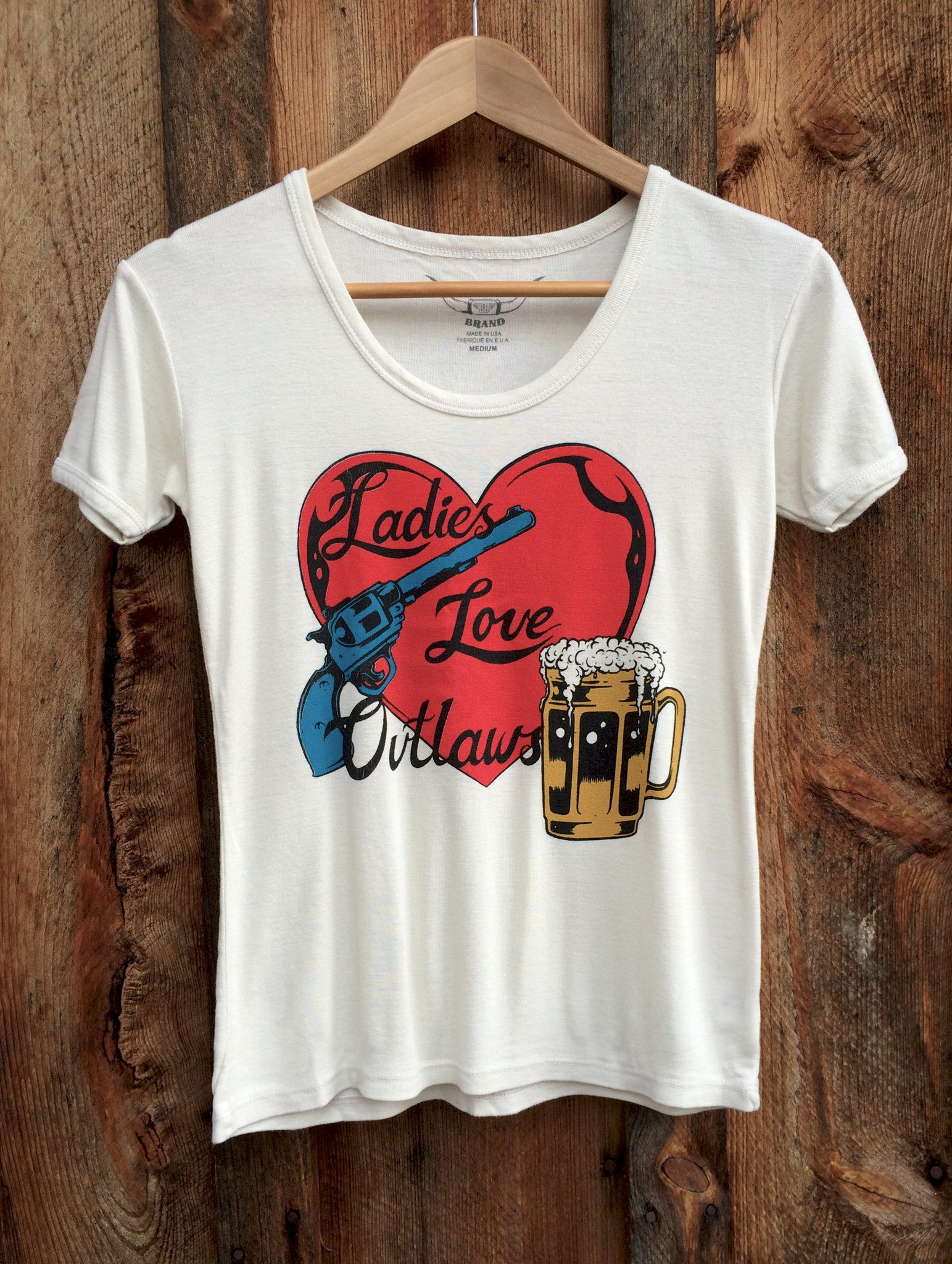 Heart and Pistol (Ladies Love Outlaws) 70's Tee  White/Multi