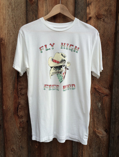 Fly High Free Bird Mens Tee White/Multi