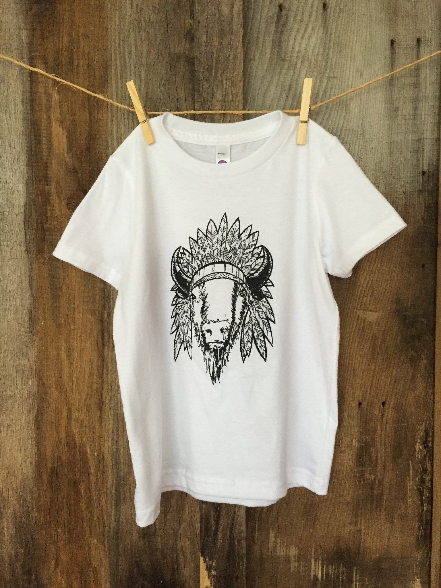 "Bandit Kid ""Bison Chief"" Tee White/Blk"