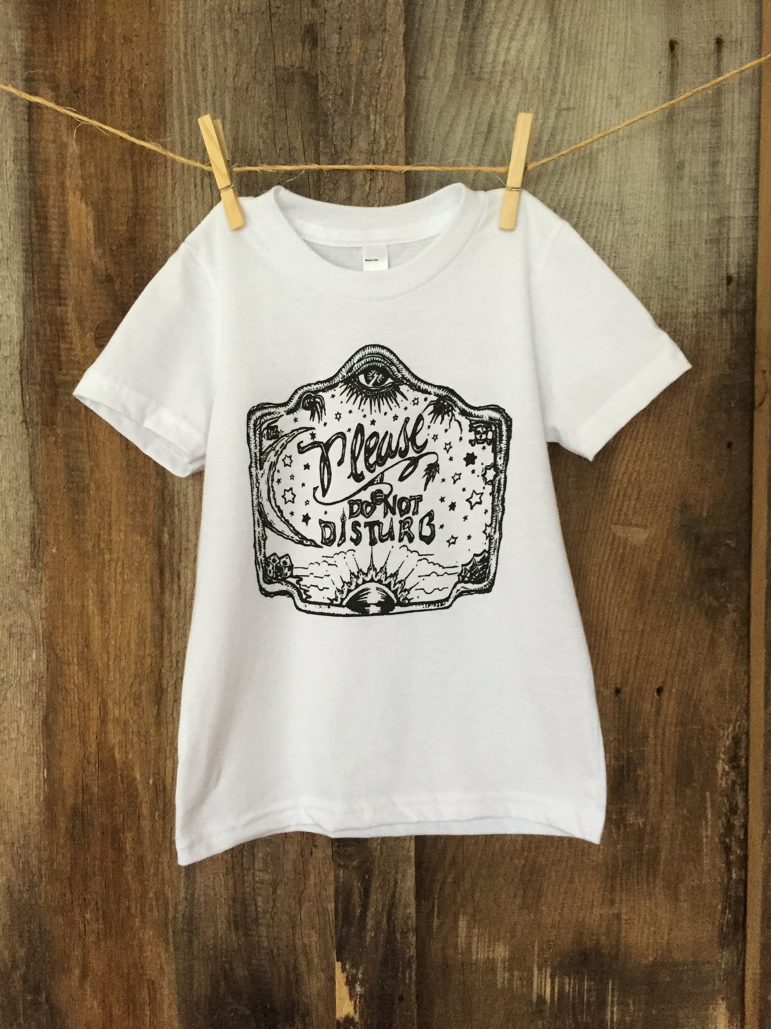 "Bandit Kid ""Please Do Not Disturb"" Tee White/Blk"