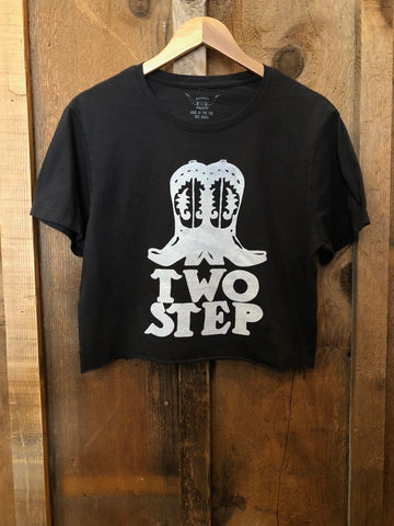 Two Step Cropped Tee Blk/White