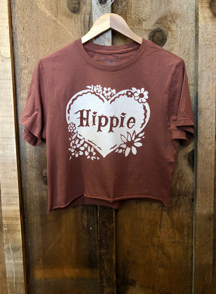 Hippie Cropped Tee Rust/Cream