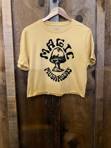Magic Mushrooms Cropped Tee Gold Dust/ Blk