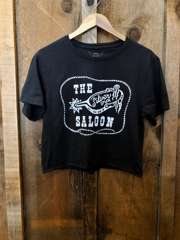 The Silver Spur Saloon Cropped Tee Blk/White