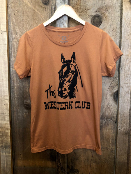 The Western Club Womens Tee Cognac/Black