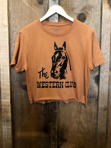 The Western Club Cropped Tee Cognac/Black