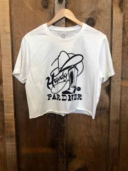 Howdy Pardner Cropped Tee White/Blk