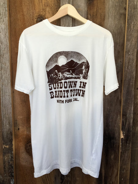 Sundown In Bandit Town Mens Tee White/Brown