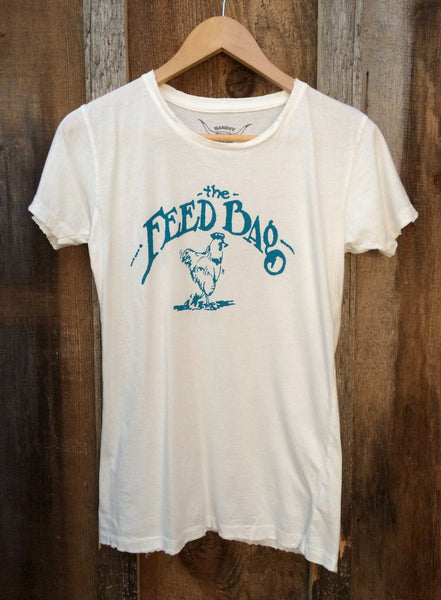 The Feed Bag Womens Tee White/Turquoise