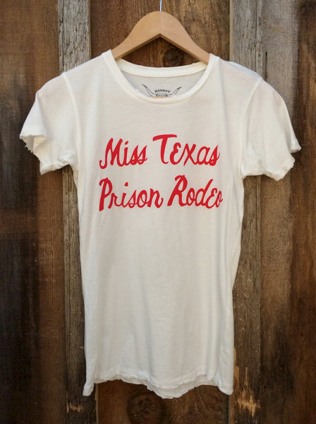 Miss Texas Prison Rodeo Womens Tees White/Red