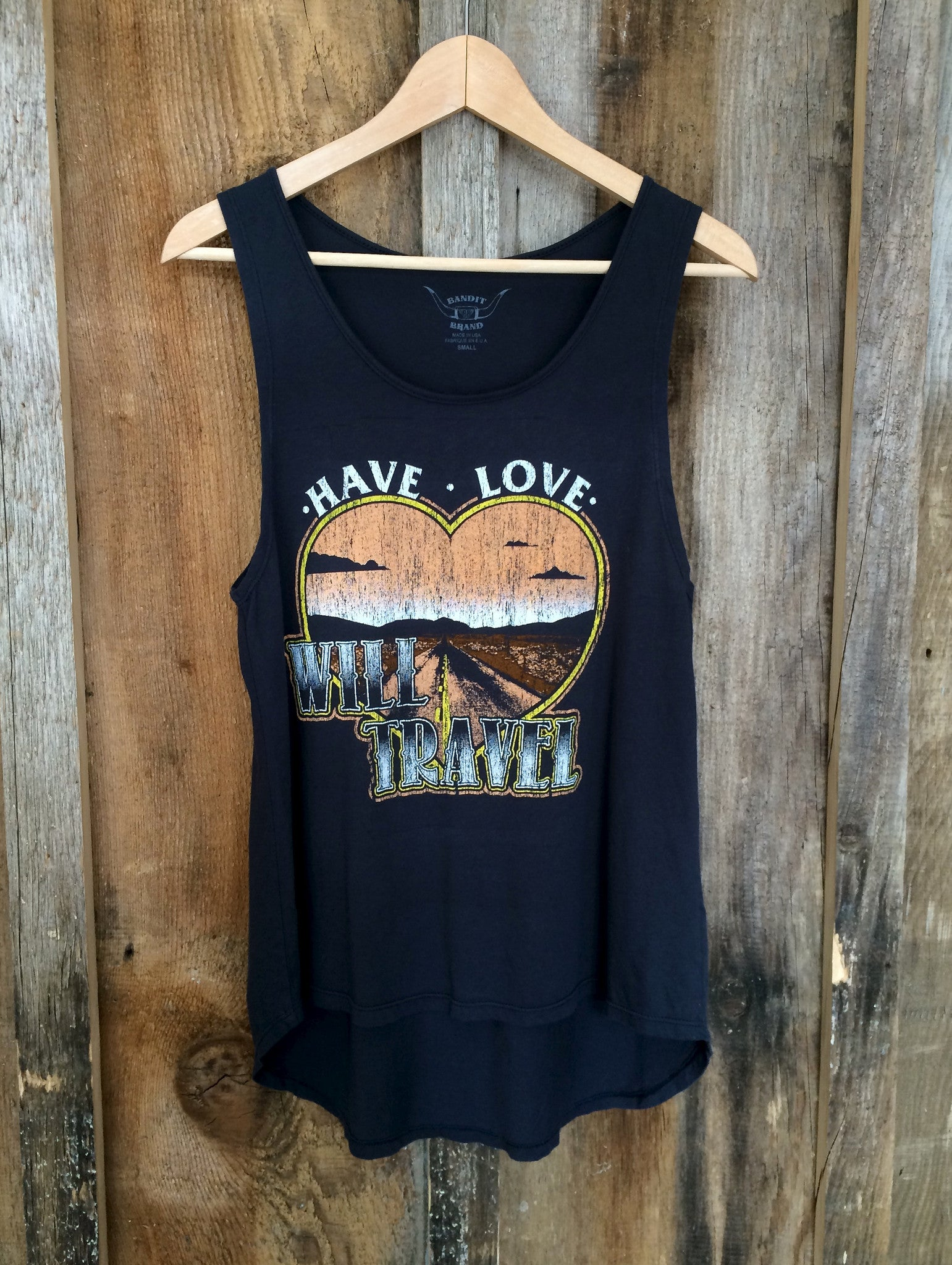 Have Love Will Travel Long Tank Blk/Multi