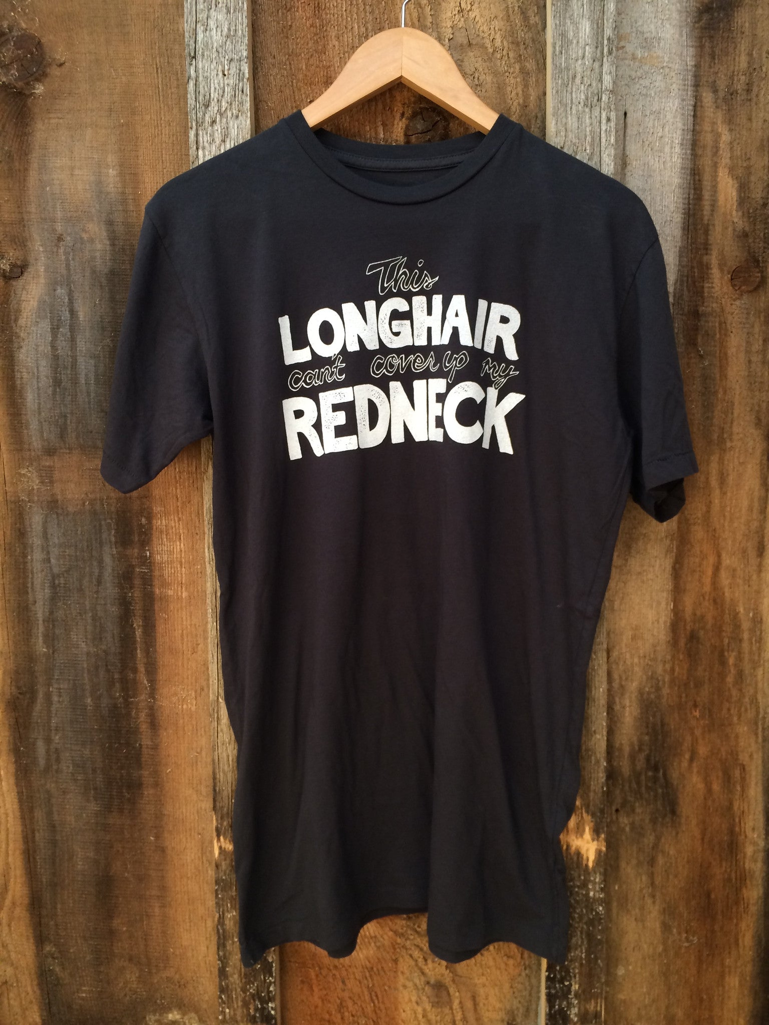 Long Hair Redneck Mens Tee Blk/Wht