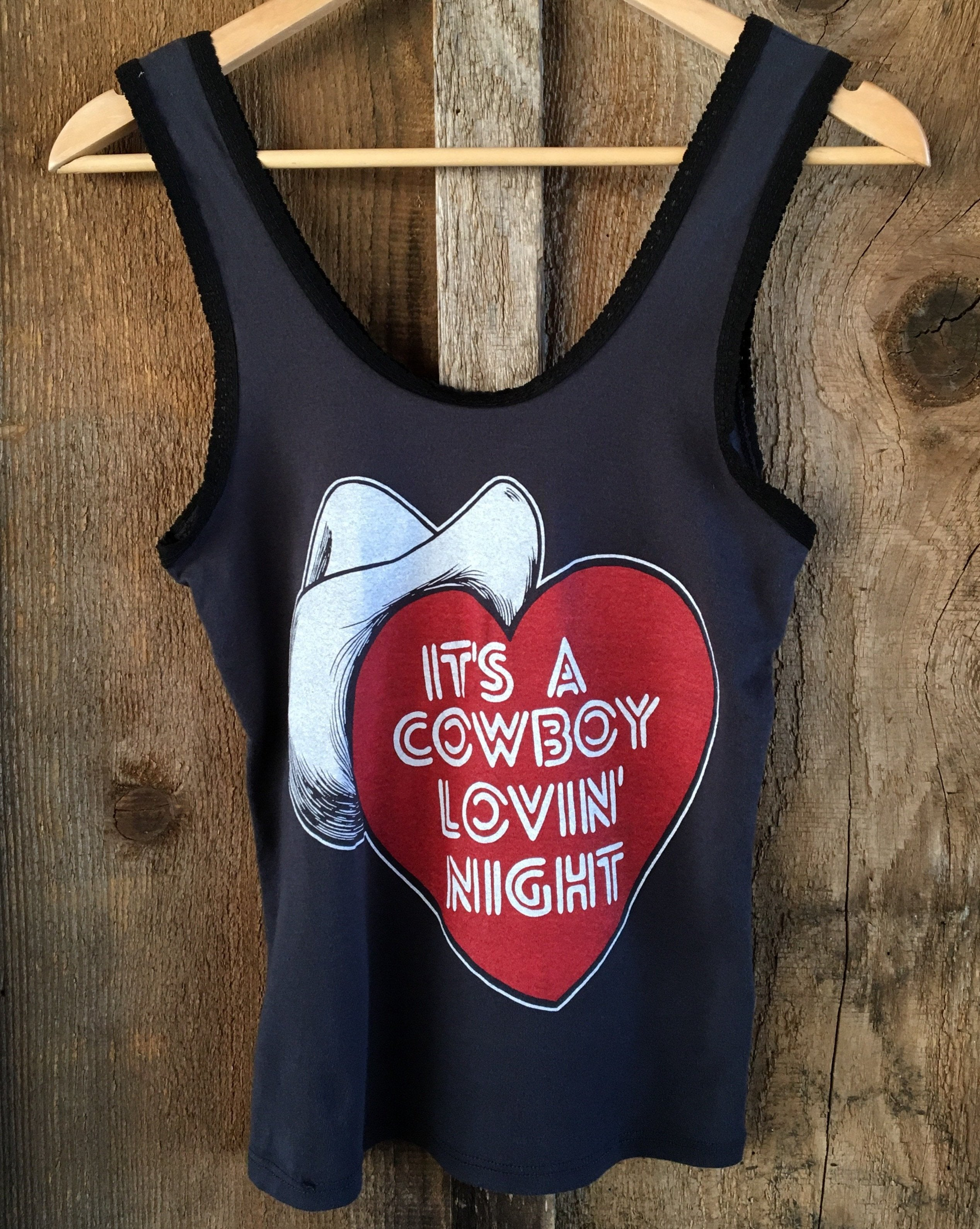 Cowboy Lovin Night Lace Tank Blk/Color