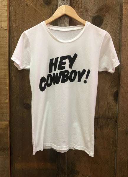 Hey Cowboy Womens Tee White/Blk