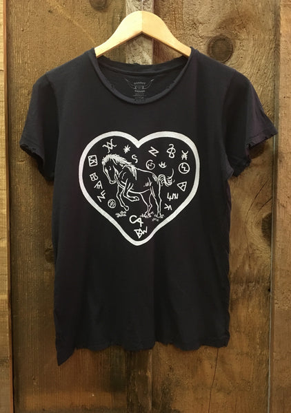 Branded Horse Womens Tee Blk/White